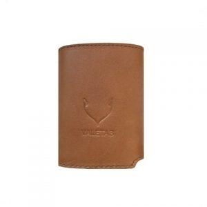 odinė šviesiai rudos spalvos vyriška piniginė iš priekio