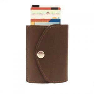 odinė rudos spalvos vyriška piniginė iš galo