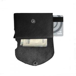 juoda odinė piniginė be centinės vidus