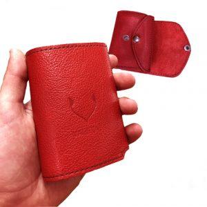moteriška raudona odinė piniginė