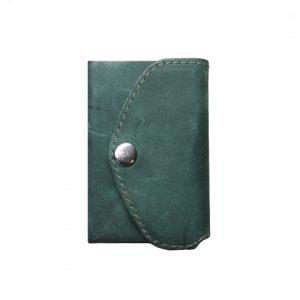 žalia vyriška odinė piniginė iš galo